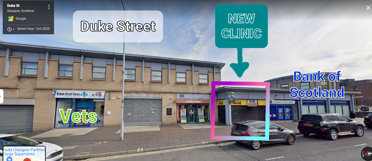 photo highlighting the location of the new clinic in relation to the neighbouring businesses